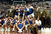 Europei Roma 1991 - la nazionale Jugoslava vincitrice. Si riconoscono Vlade Divac, Toni Kukoc, Dino Radja