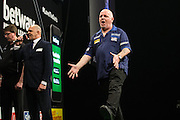 Robert Thornton misses a dart at a double  during the Premier League Darts  at the Motorpoint Arena, Cardiff, Wales on 31 March 2016. Photo by Shane Healey.