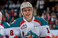 KELOWNA, CANADA - FEBRUARY 22: Carsen Twarynski #18 of the Kelowna Rockets skates to the bench to celebrate a second period goal against the Edmonton Oil Kings on February 22, 2017 at Prospera Place in Kelowna, British Columbia, Canada.  (Photo by Marissa Baecker/Shoot the Breeze)  *** Local Caption ***