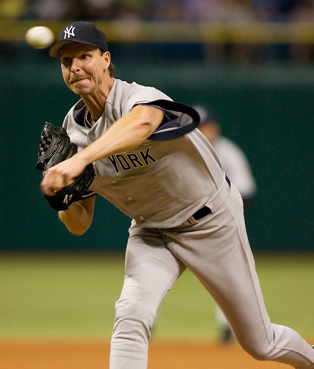 New York Yankee's Randy Johnson pitches to the Tampa Bay Devil Rays during the second inning of their American League baseball game on Thursday, May 4, 2006 in St. Petersburg, Fla.(AP Photo/Scott Audette)