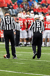 13 October 2012: Umpire Brett Denker and Umpire Gregory Allen during an NCAA football game between the Youngstown State Penguins and the Illinois State Redbirds.  The Redbirds won the game by a score of 35-28 at Hancock Stadium in Normal Illinois