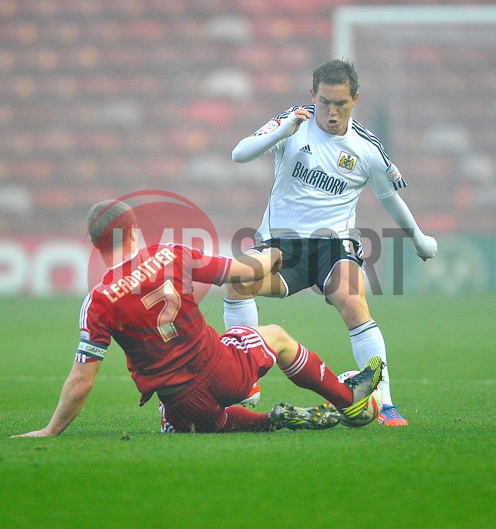 Middlesbrough's Grant Leadbitter tackles Bristol City's Neil Kilkenny - Photo mandatory by-line: Joe Meredith/JMP  - Tel: Mobile:07966 386802 24/11/2012 - Middlesbrough v Bristol City - SPORT - FOOTBALL - Championship -  Middlesbrough  - River Side Stadium