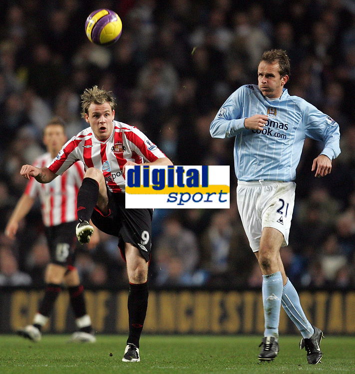Photo: Paul Thomas/Sportsbeat Images.<br /> Manchester City v Sunderland. The FA Barclays Premiership. 05/11/2007.<br /> <br /> City's Dietmar Hamann (R) has the ball cleared from him by  Anthony Stokes.