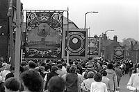 Dinnigton and Shireoaks banners, 1983 Yorkshire Miner's Gala. Barnsley