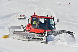 Preparing the competition piste, at 2018 World Para Alpine Skiing World Cup, Tignes, France
