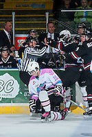 KELOWNA, CANADA - OCTOBER 14: Nick Merkley #10 of Kelowna Rockets gets up from a hit by the against the Red Deer Rebels on October 14, 2015 at Prospera Place in Kelowna, British Columbia, Canada.  (Photo by Marissa Baecker/Shoot the Breeze)  *** Local Caption *** Nick Merkley;