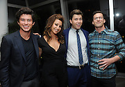 Andy Samberg, right, joins Staten Island Summer cast members Graham Phillips, left, Gina Gershon and Colin Jost at an after party at The Standard, East Village, Tuesday, July 21, 2015, in New York. The new comedy debuts on Netflix on July 30, 2015 and is available for Digital download. (Photo by Diane Bondareff/Invision for Paramount Pictures/AP Images)