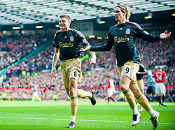 21.03.2010, Old Trafford, Manchester, ENG, PL, Manchester United vs Liverpool FC im Bild Torjubel von Fernando Torres, nach dem 1 zu 0 mit Captain Steven Gerrard., EXPA Pictures © 2010, PhotoCredit: EXPA/ Propaganda/ D. Rawcliffe / SPORTIDA PHOTO AGENCY