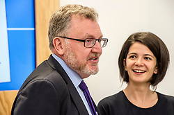 Pictured: David Mundell had lts of questions for Google head of skills policy Alina Dimofte as he toured the garage.<br /> <br /> Scottish Secretary David Mundell visited a 'digital garage' in Edinburgh which trains people in digital skills. The Google Digital Garage, in Shandwick Place is a social responsibility outlet for the corporate giant<br /> <br /> <br /> Ger Harley | EEm 23 July 2018