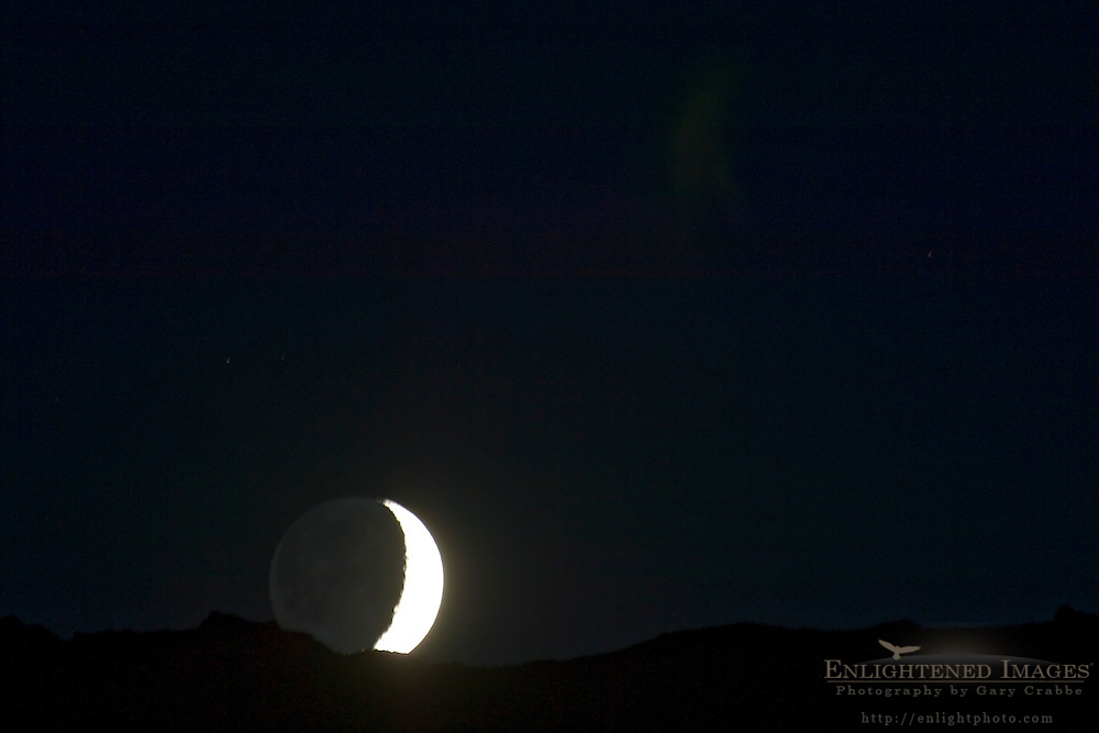 Waxing Crescent Moon setting over Leavitt Pass, Emigrant Wilderness, California