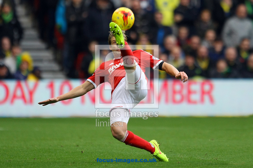 Daniel Harding of Nottingham Forest attempts an overhead kick during the Sky Bet Championship match at the City Ground, Nottingham<br /> Picture by Paul Chesterton/Focus Images Ltd +44 7904 640267<br /> 08/11/2014