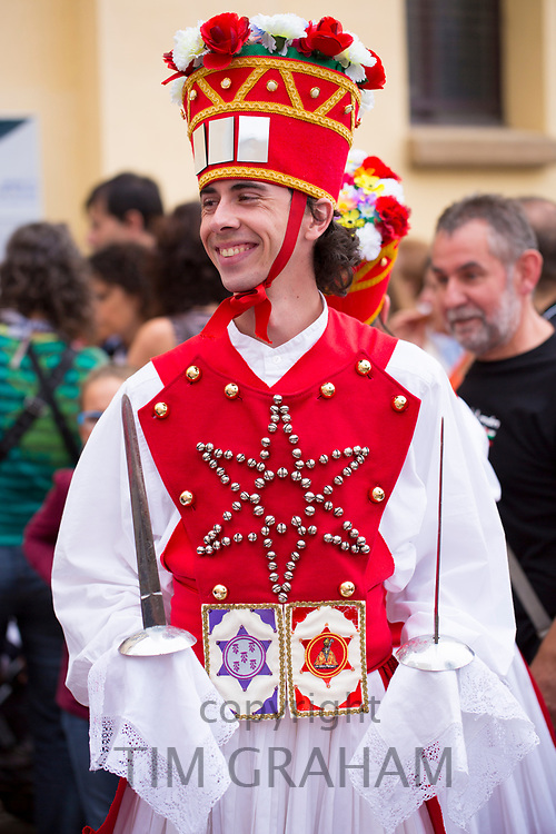 Male dancer at San Fermin Fiesta at Pamplona, Navarre, Northern Spain
