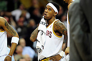 Feb. 9, 2011; Cleveland, OH, USA; Cleveland Cavaliers point guard Daniel Gibson (1) looks to the scoreboard during the fourth quarter against the Detroit Pistons at Quicken Loans Arena. The Pistons beat the Cavaliers 103-94 for Cleveland's 26th loss in a row. Mandatory Credit: Jason Miller-US PRESSWIRE