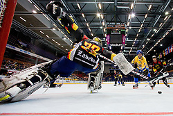 View on Thomas Ower of Germany from netcam at IIHF In-Line Hockey World Championships Quarter final match between national teams of Sweden and Germany on July 2, 2010, in Karlstad, Sweden. (Photo by Matic Klansek Velej / Sportida)