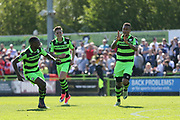 Forest Green Rovers Keanu Marsh-Brown(7) scores a goal 2-0 and celebrates during the Vanarama National League Play Off second leg match between Forest Green Rovers and Dagenham and Redbridge at the New Lawn, Forest Green, United Kingdom on 7 May 2017. Photo by Shane Healey.