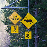 Caribou crossing sign north of Revelstoke, British Columbia.