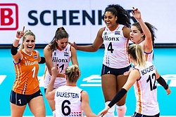 16-10-2018 JPN: World Championship Volleyball Women day 17, Nagoya<br /> Netherlands - China 1-3 / Kirsten Knip #1 of Netherlands, Maret Balkestein-Grothues #6 of Netherlands, Anne Buijs #11 of Netherlands, Britt Bongaerts #12 of Netherlands, Celeste Plak #4 of Netherlands, Yvon Belien #3 of Netherlands