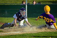 Lake City High's Bryce Mort looks back toward Tyler Presby, from Lewiston High, as he slides safely into home in the seventh inning Friday.