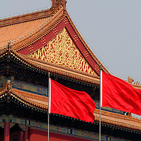Asia, China, Beijing. Flags of the Forbidden City.