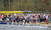 Henley. United Kingdom. Orsiris after winning the reserve boat race outside  Upper Thames RC. through the cox in  women's reserve boat race 2014 Henley Boat Race, Henley Reach, Annual Women's Boat Race.  River Thames; Sunday  - 30/03/2014  [Mandatory Credit;  Intersport Images],