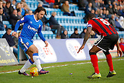 Gillingham FC midfielder Bradley Dack (23) does a step over the keep the ball away from Shrewsbury Town FC midfielder Abu Ogogo (8) during the EFL Sky Bet League 1 match between Gillingham and Shrewsbury Town at the MEMS Priestfield Stadium, Gillingham, England on 28 January 2017. Photo by Andy Walter.
