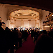 December 12, 2012 - New York, NY : The audience bursts into enthusiastic applause after the Westminster Symphonic Choir and the Simón Bolívar Symphony Orchestra of Venezuela -- lead by conductor Gustavo Dudamel -- performed at Carnegie Hall's Stern Auditorium / Perelman Stage on Tuesday evening.  CREDIT: Karsten Moran for The New York Times