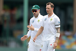 July 19, 2018 - Colombo, Sri Lanka - South African cricket captain Faf du Plessis (L) and  Dale Steyn during the first day of the 2nd test cricket match between Sri Lanka and South Africa at SSC International Cricket ground, Colombo, Sri Lanka on Friday 20 July 2018  (Credit Image: © Tharaka Basnayaka/NurPhoto via ZUMA Press)