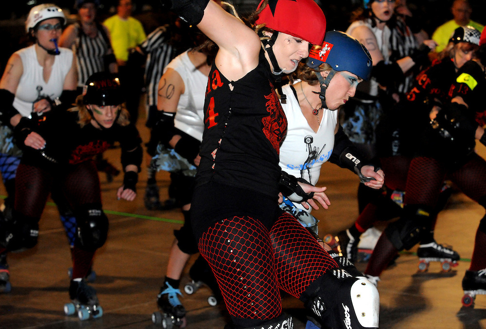 The Sick Town Derby Dames vs Cherry City Derby Girls at the State Fairgrounds in Salem, Oregon on March 7, 2010. (Photo by Casey Campbell)