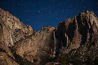 Moonlit landscape image of Yosemite National Park.