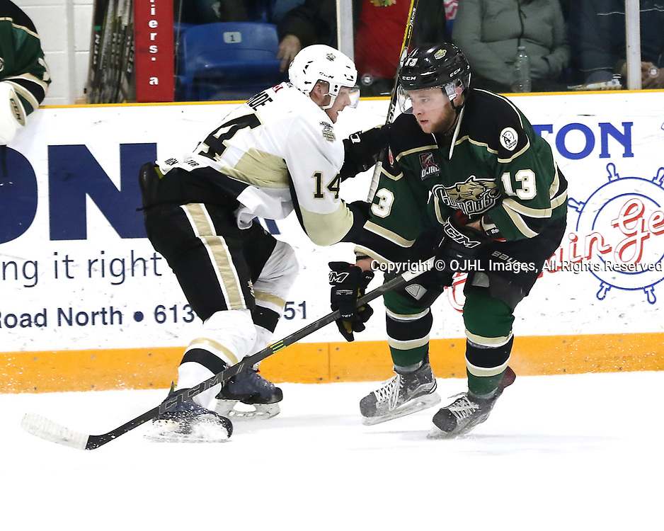 TRENTON, ON - MAR 31,  2017: Ontario Junior Hockey League North East Conference Championship game between  Trenton Golden Hawks and the Cobourg Cougars, Mathew Busby #13 of the Cobourg Cougars makes the hit on Rex Moe #14 of the Trenton Golden Hawks during the first period<br /> (Photo by Ed McPherson / OJHL Images)