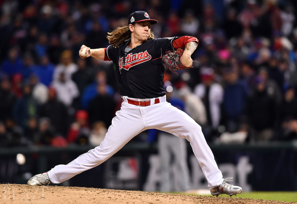 Oct 26, 2016; Cleveland, OH, USA; Cleveland Indians pitcher Mike Clevinger throws a pitch against the Chicago Cubs in the 9th inning in game two of the 2016 World Series at Progressive Field. Mandatory Credit: Ken Blaze-USA TODAY Sports