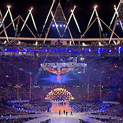 The Olympic cauldron opened before being extinguished during the Closing Ceremony at Olympic Stadium during the 2012 Summer Olympic Games in London, England, Sunday, August 12, 2012. (David Eulitt/Kansas City Star/MCT)