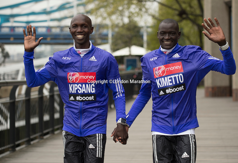 Virgin Money London Marathon 2015<br /> <br /> Photocall featuring the leading contenders for the London Marathon posing at Tower Bridge in London.<br /> <br /> Left to Right<br /> Wilson Kipsang  Kenya<br /> Dennis Kimetto  Kenya<br /> <br /> <br /> Photo: Bob Martin for Virgin Money London Marathon<br /> <br /> This photograph is supplied free to use by London Marathon/Virgin Money.