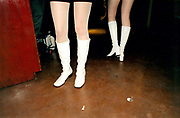 View of women's white gogo boots.