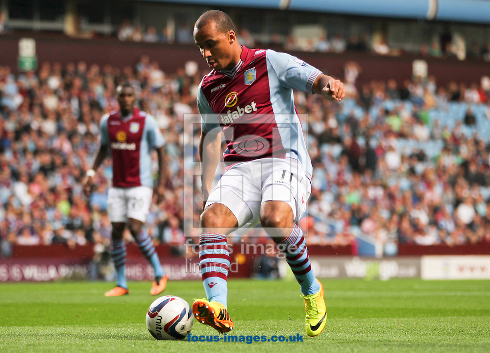 Picture by Tom Smith/Focus Images Ltd 07545141164<br /> 28/08/2013<br /> Gabriel Agbonlahor of Aston Villa in possession of the ball during the Capital One Cup match at Villa Park, Birmingham.