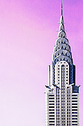 The Chrysler Building against a magenta, Photoshopped sky