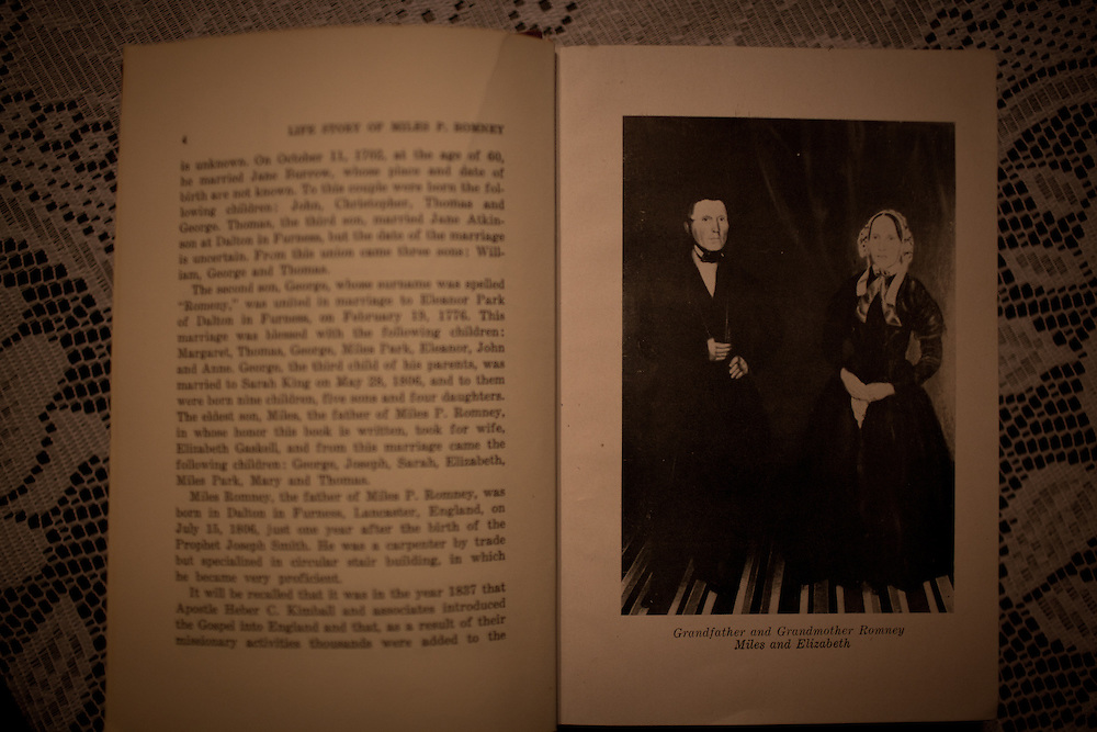 "A book ""The Life Story of Miles P. Romney"" shows a photographs of Miles and Elizabeth Romney, ancestors of Mitt Romney, at the Kent Family home in Colonia Juarez, Mexico in July 2011. United States Presidential candidate Mitt Romney's family migrated to Mexico over 100 years ago after being granted asylum from Mexican President Porfirio Diaz after they had been pursued by the U.S. authorities for polygamy. ..(Romney is currently running for the Republican nomination.)"