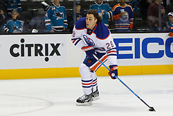 Dec 17, 2011; San Jose, CA, USA; Edmonton Oilers right wing Ryan Jones (28) warms up before the game against the San Jose Sharks at HP Pavilion.  San Jose defeated Edmonton 3-2. Mandatory Credit: Jason O. Watson-US PRESSWIRE
