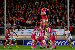 Exeter Chiefs Lock (#5) James Hanks wins the lineout during the first half of the match - Photo mandatory by-line: Rogan Thomson/JMP - Tel: Mobile: 07966 386802 20/10/2012 - SPORT - RUGBY - Sandy Park Stadium - Exeter. Exeter Chiefs v ASM Clermont Auvergne - Heineken Cup Round 2