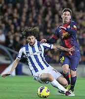 06.01.2013 Barcelona, Spain. La Liga day 18. Picture show Leo Mess and Moreno in action during game between FC Barcelona against RCD Espanyol at Camp Nou