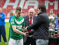 WREXHAM, WALES - Saturday, May 3, 2014: Aberystwyth Town's Chris Venables looks dejected as he receives his runners-up medal from Wales national team manager Chris Coleman after the Welsh Cup Final against The New Saints at the Racecourse Ground. (Pic by David Rawcliffe/Propaganda)