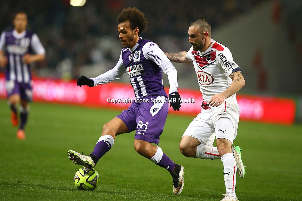 Martin Braithwaite / Diego Contento - 21.03.2015 - Toulouse / Bordeaux - 30eme journee de Ligue 1<br />Photo : Manuel Blondeau / Icon Sport