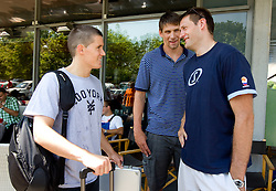 Jaka Lakovic, Gasper Vidmar and Goran Jagodnik of Slovenia Basketball national team at departure to Rogla before World Championship in Turkey, on July 10, 2010 at KZS, Ljubljana, Slovenia. (Photo by Vid Ponikvar / Sportida)