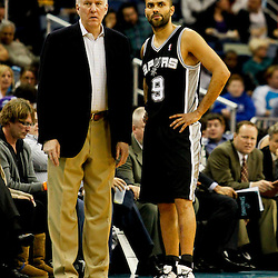 Jan 7, 2013; New Orleans, LA, USA; San Antonio Spurs head coach Gregg Popovich and point guard Tony Parker (9)  during the second quarter of a game against the New Orleans Hornets at the New Orleans Arena. Mandatory Credit: Derick E. Hingle-USA TODAY Sports