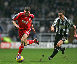 Newcastle, England - Saturday, February 10, 2007: Liverpool's captain Steven Gerrard in action against Newcastle United during the Premiership match at St James' Park. (Pic by Dave Kendall/Propaganda)