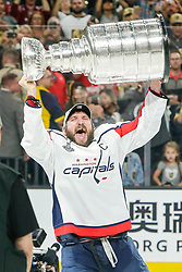 June 7, 2018:  Washington Capitals left wing Alex Ovechkin (8) skates with the Stanley Cup after the Washington Capitals and Vegas Golden Knights NHL Stanley Cup Final playoff game 5 at T-Mobile Arena in Las Vegas, NV. John Crouch/CSM
