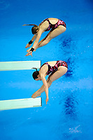 London, England, 12-02-25. Alicia BLAGG and Rebecca GALLANTREE (GBR) competing in the women's synchronised 3m spring board at the 18th FINA Visa World Cup Diving, Olympic Aquatics Centre. Part of the London Prepares Olympic preparations.