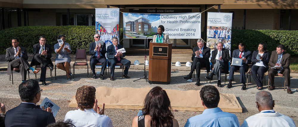 Representative Sheila Jackson-Lee comments during a groundbreaking ceremony for the new DeBakey High School for Health Professionals, December 15, 2014.