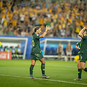 GRENOBLE, FRANCE June 18. Sam Kerr #20 of Australia celebrates her fourth goal with Caitlin Foord #9 of Australia after pouncing on an error from goalkeeper Nicole McClure #13 of Jamaica as the Australian supporters go wild during the Jamaica V Australia, Group C match at the FIFA Women's World Cup at Stade des Alpes on June 18th 2019 in Grenoble, France. (Photo by Tim Clayton/Corbis via Getty Images)