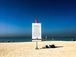 Beach in Dubai. Images from the MSC Musica cruise to the Persian Gulf, visiting Abu Dhabi, Khor al Fakkan, Khasab, Muscat, and Dubai, traveling from 13/12/2015 to 20/12/2015.